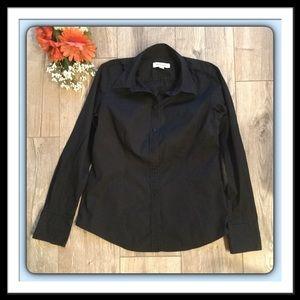 Merona Black Long Sleeved Blouse, Size Med.
